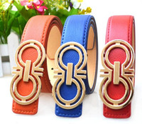 Wholesale New brand hot designer kids PU leather belts children fashion letters buckle belt girls boys Leisure strap high quality