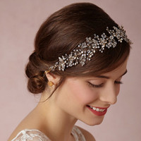 antique gold ribbon - Luxury Crystal Wedding Bridal Hair Accessories Beading Pearls handmade Wedding Handbands Bridal Tiaras Crowns For Prom Party Headpieces