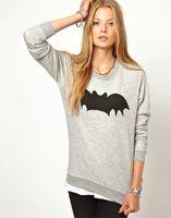 active bat - EA43 Women sweatshirts Fashion Spring hoodies gray Bat print long sleeve sport pullover Casual O neck brand Tops