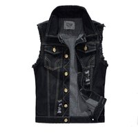 Wholesale Fall New Summer Mens Denim Vest Vintage Sleeveless Washed Jeans waistcoat Man Cowboy Ripped Jacket Plus Size Tank Top EDA359