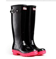 Wholesale 2016 New Arrival Hunters Rain Boots For Women Wellies Over knee high Waterproof Hunters boots Low Heel High Fashion boots for unisex size38
