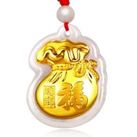 Wholesale k gold jadeite pendant Grade A Jadeite natural jade Fu Blessed bag for mother wife lover mean peace safe Gold and jade