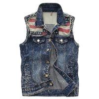 Wholesale Mens Vests Classic Vintage Jeans Vest Tops Sleeveless Casual Fashion Flag Blue Jacket Slim Waistcoat Mens Clothing