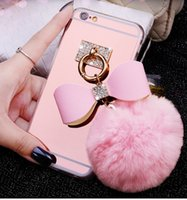 apple mouse batteries - Fashion DIY D Bling Crystal Cute Mice Ear Head Bowknot Fur Ball Tassel Soft Clear TPU Case For iPhone S Plus Girly Cases