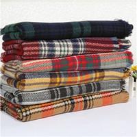 best warm blanket - Women fashion Plaid Scarf Warm Soft Winter Blanket Scarf Oversized Tartan Scarf women Shawl Scarf Scarves Wraps Best price
