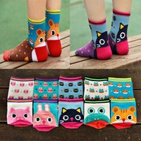 Wholesale pairs Funny Cute socks for women soft breathable high top cotton socks cartoon animals D cute socks