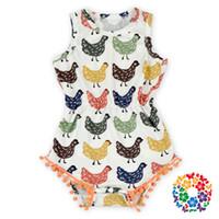 baby girl chickens - Hot Style Baby Kids Pom Pom Chicken Romper Little Girls Sleeveless Summer Pompom Romper Bulk Infant Rompers Outfits