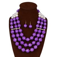 Wholesale Luxury Pearl African Beads Jewelry Sets Fashion Multi layer Nigerian Wedding African Beads Statement Necklace and Earrings Set