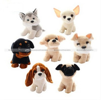 Wholesale Pc Cute Small Labrador Chihuahua Pug Rottweiler Basset hound Dog Soft Plush Stuffed Doll Toy Gift KTK