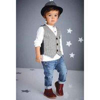 Boy Winter 100% Cotton Boys Suits Children Set Kids Outfits 2016 Spring Autumn Waistcoat White Shirt Denim Trouser Boys Clothing Sets Baby Clothes Lovekiss C23798