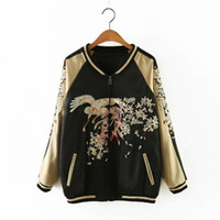 Wholesale Yokosuka Harajuku Fashion Embroidery Flower Phoenix Bird Jacket Reversible Coat Sukajan Coat Pilots Outerwear Autumn Women s Bomber Jacket