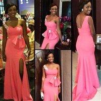 big green carpet - Floor Length Pink Gowns One shoulder Neck Split Evening Dress Big Bow Sweetheart African Dress Custom Made Formal Wear Longs