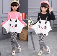 Wholesale New Girls Cute Cat Strip Outfits Sets Children Autumn Long Sleeve two pieces Cartoon Tracksuits loose tshirt leggings tight Girls Suits set