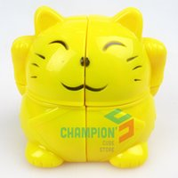 Wholesale YJ A x2 Fortune Cat Magic Cube Puzzle Yellow Learning Educational Cubo Magico Toys