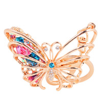 animal car accessories - Lovely D Butterfly Key Chains Hollow Rhinestone Key Rings Zinc Alloy Car Keychains Fashion Accessories for Women and Girls hdd