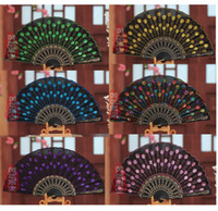 Wholesale 11 Colors Chinese Crafts Sequins Hand Held Folding Fans Wedding Party Gift