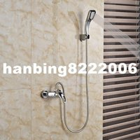 Wholesale new Singe Handle Dual Hole Hot Cold Shower Faucet Wall Mount Chrome Brass Hand Held Shower Mixer Taps