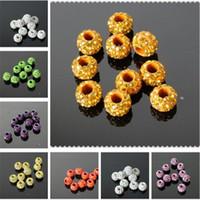 Wholesale Macroporous round beads mm shamballa crystal loose beads Rhinestone mix order per for bracelet earring ring DIY