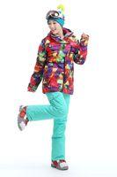 Wholesale 2016 new womens geometric figure ski jacket waterproof snowboard jacket ladies geometric ski jacket snow parka skiwear anorak