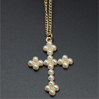 Wholesale Cheap Cross Rhinestone Jewelry - Cross White imitation pearl Necklaces Fashion jewelry cheap Alloy chain Hot necklaces & pendants necklace for women 2016 love 50 cm