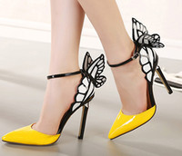 Cheap Butterfly Wings Hollow High-heeled Sandals Sexy Yellow Stiletto Shoes Pointed Toe Cheap For Women