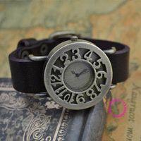 achat en gros de bonne qualité des bracelets en cuir gros-prix de gros acheteur de bonne qualité de punk antique en cuir véritable bracelet quartz cadran montre dame du poignet