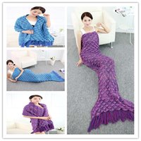 Wholesale 190cm CM Mermaid Tail Blanket SUMMER QUILT Crochet Super Soft Warmer Blanket Bed Sleeping Costume Air condition Blanket