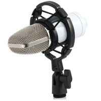 Wholesale Stereo Clip Microphone - Top quality Professional BM700 Microphone Audio Processing Stereo Condenser Microphone with Holder Clip for KTV Chatting Singing Karaoke