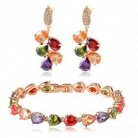 Wholesale 2016 summer new personalized Crystal Earrings Bracelet Set color zircon water drop earrings European and American national wind multicolored