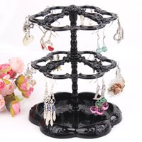 Wholesale Hot selling Chic Retro Rose Pattern Earrings Holder Turnable Jewelry Stand Organizer jewelry Storage holder earring display rack
