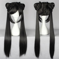Wholesale peruvian glueless full lace human hair wigs lace front wigs for gt gt gt Hot long black Straight Lady Girl Lolita Wig With Two Ponytails Design Wig