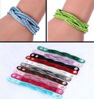 Wholesale Popular single layer weave twist bracelet story diamond bracelet DIY paste drill preparation snap bracelet Popular Jewelry E230