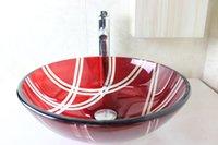 Wholesale Bathroom Vanity Extra white tempered glass basin glass basin oak wood bathroom vanity Modern Bathroom Glass Basin N
