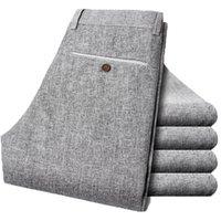 Wholesale Linen Fabric Trousers - men linen fabric quality long pants size 28-38 summer dress men's trousers 58
