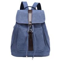 Wholesale Men s Canvas Leather Hiking Travel Backpack Rucksack School Bag