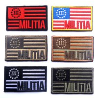 american military flags - 60 Embroidered American Flag MILITIA Patch D Tactical Patches Fabric US Army Badge Cloth Combat Armband Military Badges
