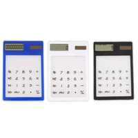 Wholesale NEW Ultra Slim Solar Touch Screen LCD Digit Electronic Transparent Calculator
