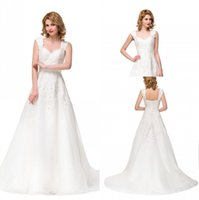 Wholesale Cap Sleeves Off Shoulder New Designer Wedding Dresses A Line Lace up Back Sweep Train Vestidos Wedding Gowns with Appliques BZP0901