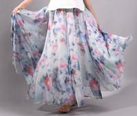 address printing - Long Skirt Nice Clothing Woman Address Skirts Fashion Chiffon Printing cms Long A style Skirt Layers chiffon fabric