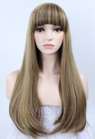 Wholesale Fashion Long Wavy Mixed Brown Wig Highlight Brown Hair Wig with Fringe Bang Synthetic Wigs for Women