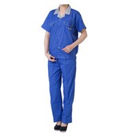Wholesale Man Woman Summer Suit Work Uniform Clothes Welding Vehicle Repair Full Size Best Selling Good Quality Clothing Blue and Grey Collar