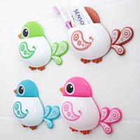 Wholesale Creative Bird Wall Mount Suction Cup Toothbrush Holder Suction Hooks Cups Organizer Bathroom Accessories Toothbrush Holder order lt no track