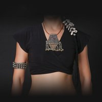 ats v - 100 Cotton New Arrival ATS Tribal Dance Wear Women Gypsy Tops V neck Front Cross Top Plus Size Belly Dance Crop Top