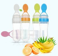 Wholesale Baby Fee rice paste bottle Baby training silicone bottle extrusion spoon children consisting of bottles Rice paste herb tea spoon scoop
