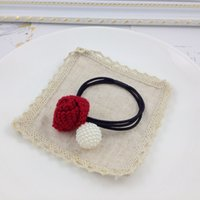 Wholesale 2016 autumn and winter The new hair Rubber Bands Knitting wool rose pearl Rubber Bands