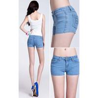 Wholesale Plus Size shorts2016 Fashion Denim Shorts Women skinny Mid Waist Hot Girls shorts female Pockets Button Fly denim shorts jeans