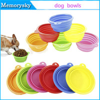 Wholesale Portable Pet Dog Cat Fashion Silicone bowl Foldable Travel Food Bowls Dish for food water colors pet bowls dog bowls