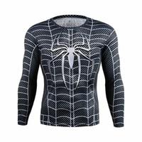 batman comic costume - 2016 Batman Spiderman Ironman Superman Captain America Avengers Costume Superhero Soldier Marvel Comics Mens Style Long T shirt