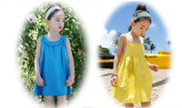 European & American Style beach scallop - 2016 girls beach dresses scallops baby summer dress years cotton comfortable stylish clothes children in stock A27