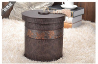 Wholesale 8L round double layer built in metal leather trash garbage waste rubbish bin storage bucket dustbin with lid for home hotel B